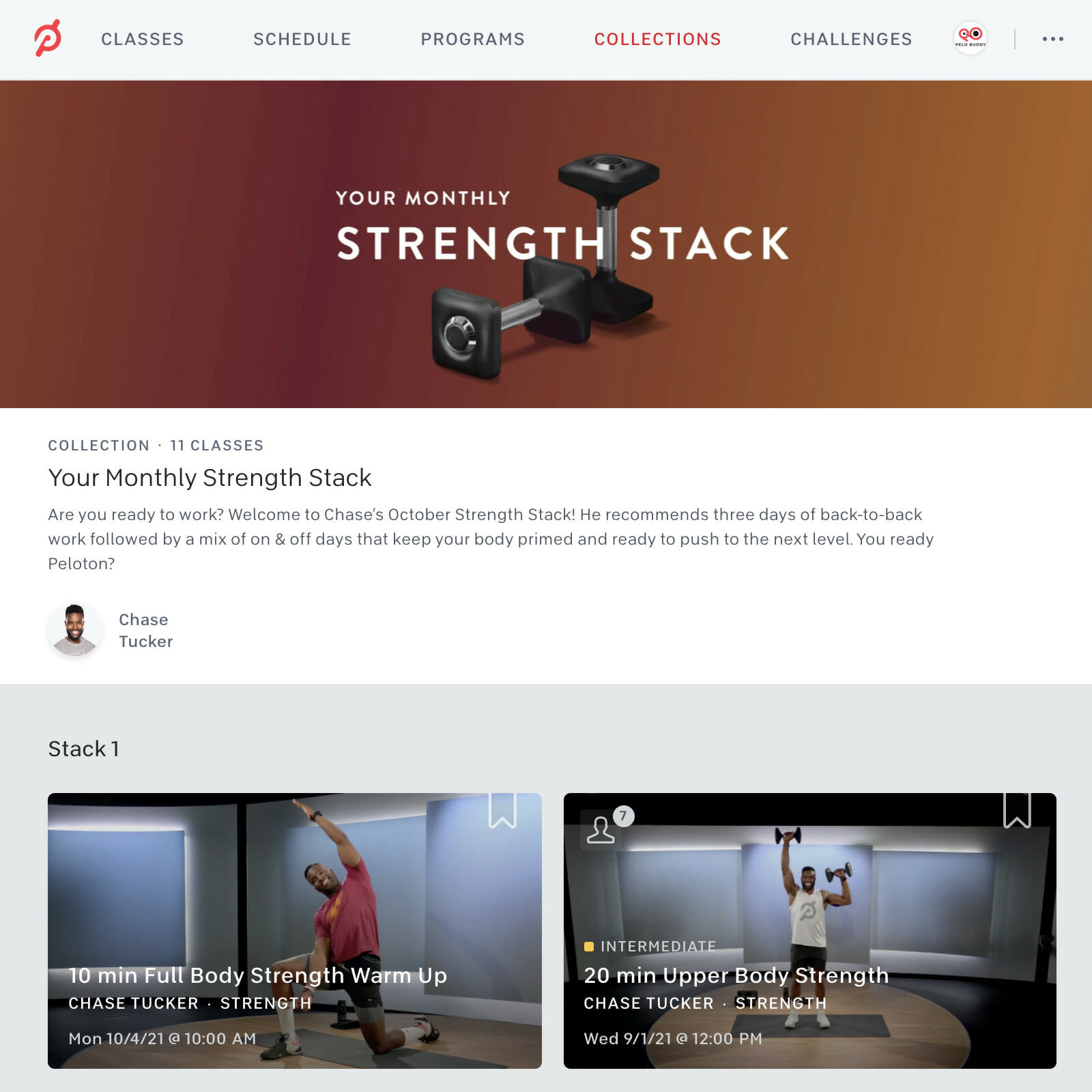 Screenshot of October Strength Stack Collection by Chase Tucker from Peloton app